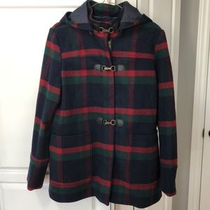 NWOT Tommy Hilfiger Wool Plaid Duffle Coat sz L